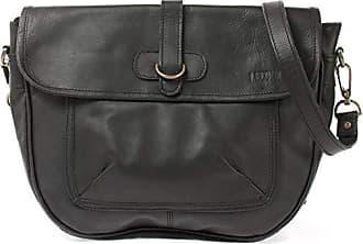 LECONI Umhängetasche Schultertasche Freizeittasche Leder schwarz LE3050-wax