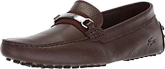 Lacoste Mens ANSTED Driving Style Loafer, Dark Brown/Black, 12 Medium US