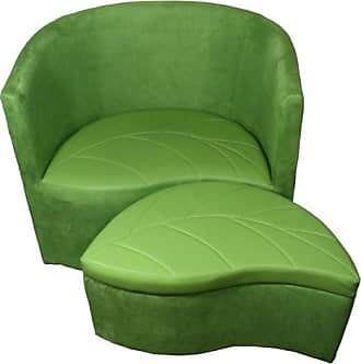 ORE 29 Green Suede Accent Chair with Storage Ottoman