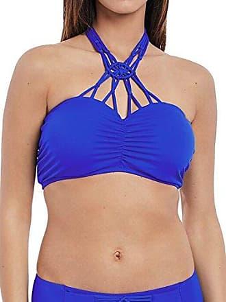 Freya Womens Macramé Molded Bandeau Underwire Bikini Top, Cobalt, 32E