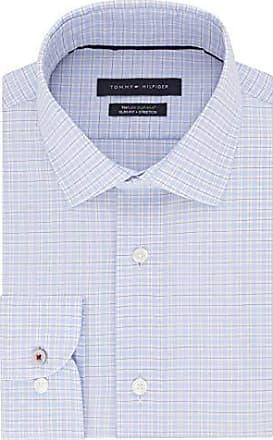 Tommy Hilfiger Mens Non Iron Slim Fit Banker Stripe Point Collar Dress Shirt