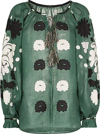 Vita Kin Blusa de linho com aplicação floral - Verde