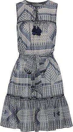 Rebecca Minkoff Rebecca Minkoff Woman Open Knit-trimmed Printed Chiffon Mini Dress Navy Size L