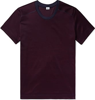 Zimmerli Striped Cotton-jersey T-shirt - Burgundy
