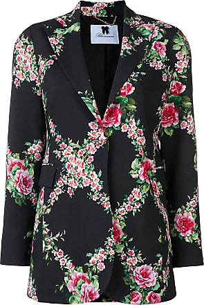 Blumarine Blazer longo com estampa floral - Preto
