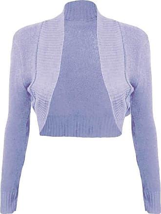 Islander Fashions Women Ladies Long Sleeve Knitted Shrug Cardigan Bolero Crop Top (Medium, Lilac)