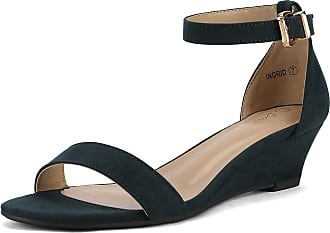 Dream Pairs Womens Ingrid Navy Suede Ankle Strap Low Wedge Sandals Size 9.5 US/7.5 UK