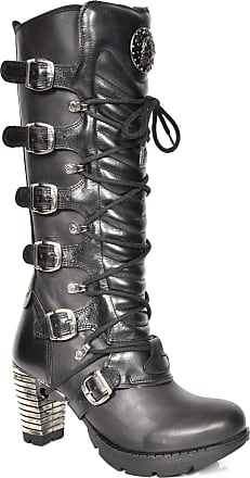 New Rock Womens Lace up Gothic Boots Black Leather Round Toe Knee Length Shoes (UK 5)