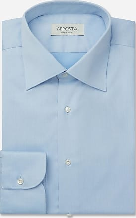 Apposta Shirt solid cyan 100% non-iron cotton twill, collar style regular straight point collar