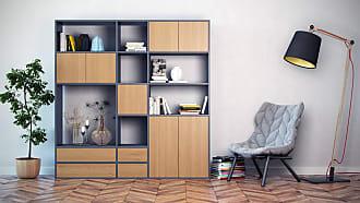 MYCS Bücherregal Anthrazit - Modernes Regal für Bücher: Schubladen in Eiche & Türen in Eiche - 190 x 195 x 35 cm, konfigurierbar