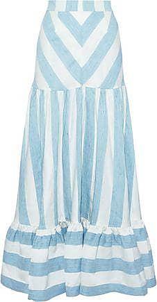 0cbd97e6ecd8 Paper London Paper London Woman Marianne Striped Woven Maxi Skirt Sky Blue  Size 10