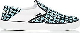 VETEMENTS Mens Houndstooth Canvas Slip-On Sneakers - Blue/Black Size 6 M