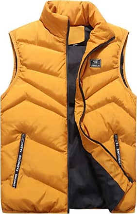 Inlefen Mens Leisure Down Cotton Coat Sleeveless Keep Warm Slim Fit Padded Packable Vest Jacket with Pockets(Yellow/XL)
