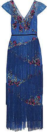 Marchesa Marchesa Notte Woman Fringed Embellished Lace Midi Dress Cobalt Blue Size 12