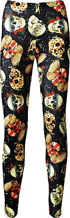 Insanity Gothic Vintage Skulls Floral Steampunk Union Jack Printed Leggings (M/L) Black