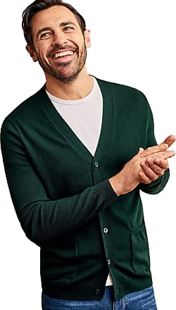 WoolOvers Mens Cashmere and Merino V Neck Knitted Cardigan Racing Green, L
