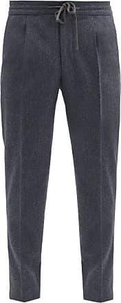 Incotex Pleated Wool-flannel Tapered-leg Trousers - Mens - Dark Blue