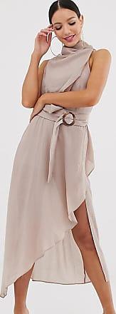 Asos Tall ASOS DESIGN Tall - Midikleid aus strukturiertem Stoff mit drapiertem Halsausschnitt und Gürtel-Beige