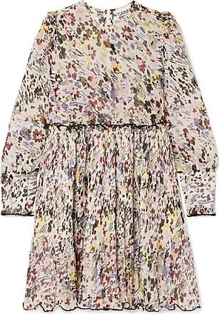 Ganni Minikleid Aus Georgette Mit Plissee Und Blumenprint - Elfenbein