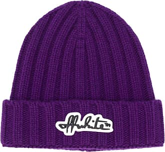 Off-white logo patch knitted beanie - Roxo