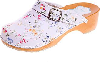 FUTURO FASHION Womens Healthy Natural Genuine Leather Wooden Sole Plain Clogs Unisex Colours, White/Blue Flowers, 4 UK