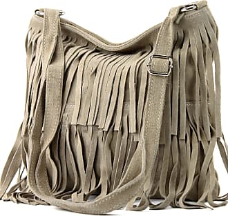 modamoda.de Ital. Leather bag Shoulderbag Shoulder bag Ladiesbag Wild leather T125, Colour:sandy colors