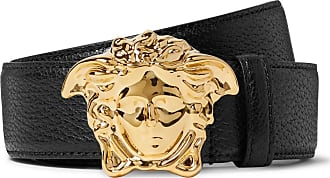 Versace 4cm Black Full-grain Leather Belt - Black
