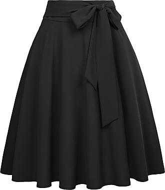 Belle Poque 1950 Style Women Evening Party Office Casual A-Line Skater Skirts Black(561-1) XX-Large