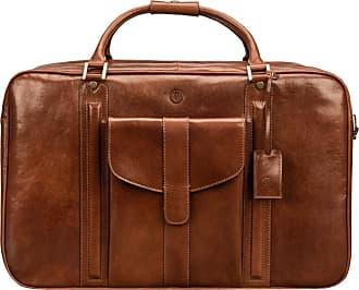 Maxwell Scott Maxwell Scott - Luxury Tan Leather Suitcase for Men