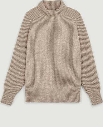 Ami Beige Plain Pullover Kragen gerippter Wollpullover - medium | beige - Beige
