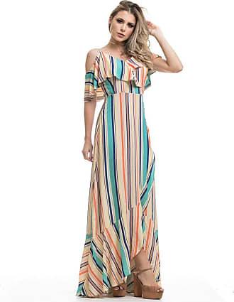Clara Arruda Vestidos Clara Arruda Longo Decote Babado 50423 - P - Listras Color