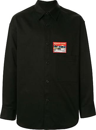 Wooyoungmi Camisa mangas longas com patch bordado - Preto