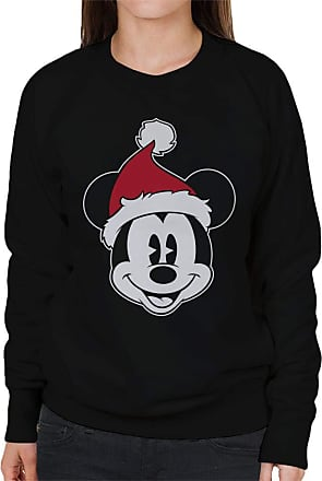 Disney Christmas Mickey Mouse Festive Hat Womens Sweatshirt Black