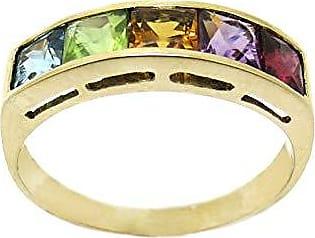 Boreale Joias Anel Meia Aliança Ouro 18k 750 Carré Rainbow Pedras Naturais