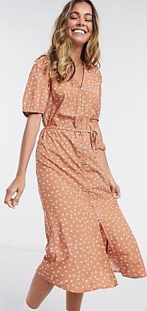 Jacqueline de Yong Ora - Midi-jurk met knopen in bruin