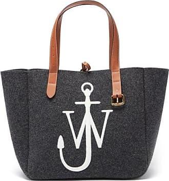 J.W.Anderson Belt Embroidered-anchor Wool-felt Tote Bag - Womens - Dark Grey