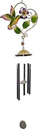 Great World Company StealStreet 324003 32 Heart Shaped Metal Chime with Flower & Hummingbird Design