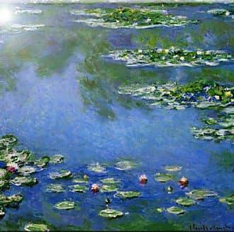 Rikki Knight Claude Monet Water Lilies Design Art Ceramic Tile, 4 by 4-Inch