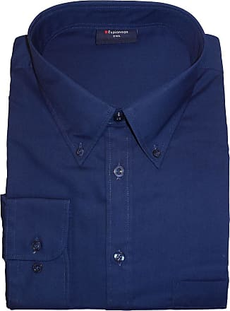 Espionage Big Size Mens Cotton Rich Long Sleeve Plain Shirt (150) in Navy in 6XL