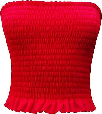 Islander Fashions New Womens Ladies Plain Crepe Fabric Sleeveless Ruched Boobtube Bandeau Sheering Crop Top Red Medium