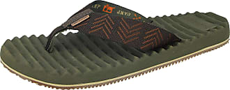 Freewaters Mens Toe Post EVA Max Cushion Lightweight Sporty Active Beach Water Friendly Flip Flops Mule Sandals Size 6-11 (UK 10, Green)