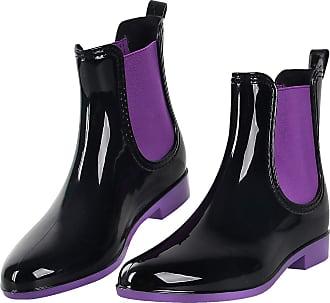 iLoveSIA Womens Chelsea Wellies Low Heel Short Flat Ankle Boots Waterproof Rain Shoes Purple Size 6.5 UK