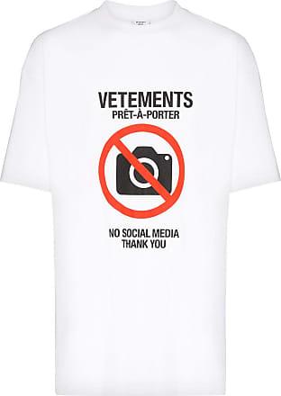 VETEMENTS Camiseta Antisocial com estampa de slogan - Branco