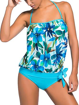 9aaf7c48b3 Minetom Women Printed Beach Two Piece Colourful Strapless Bandage Swimsuit  Padded Top Bikini Set Sexy Slimming