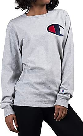 66fa1c07 Champion LIFE Mens Heritage Long Sleeve Tee, Oxford Grey/c Patch Applique,  Small