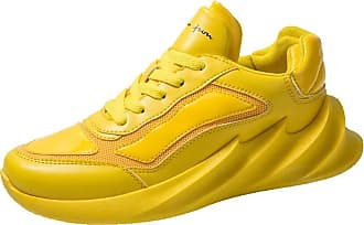 LanFengeu Men Running Shoes Platform Anti Slip Comfortable Lace up Low Top Trainers Outdoor Sport Walking Breathable Casual Sneakers Yellow