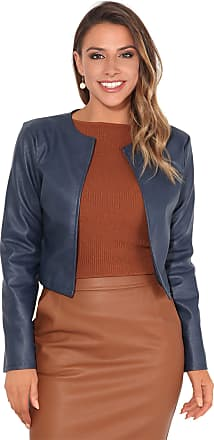 Krisp Women PU Leather Cropped Jacket Long Sleeve Bolero[4432-NVY-S] Navy