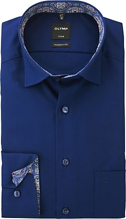 Olymp Mens Button Under Formal Shirt Extra Long Sleeve Navy 40cm (15 3/4)