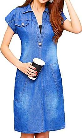 37539e92025946 Scothen Damen Sommer Jeanskleid Blusenkleid Minikleid Rundhals Kurzarm  Ärmel Denim Kieider Hemdkleid Abendkleid Partykleid Minikleid Jeans