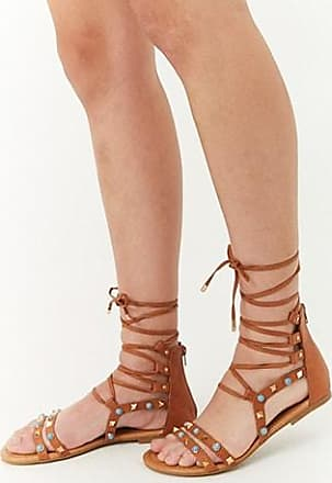 eacba9adc5b Forever 21 Forever 21 Embellished Gladiator Sandals Brown